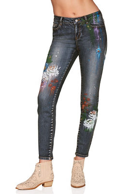 painted floral slim ankle jean