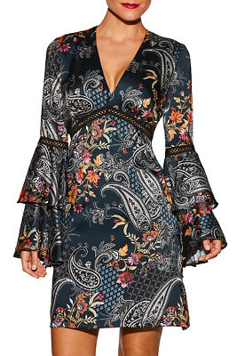 Paisley flare sleeve dress