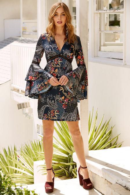 Paisley flare sleeve dress image
