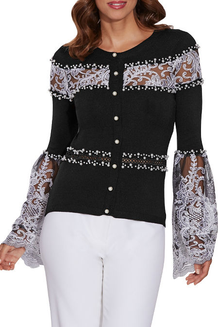 Pearl and lace embellished cardigan image