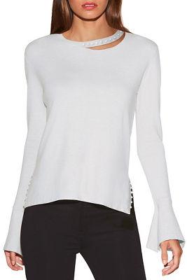 pearl detail cutout sweater