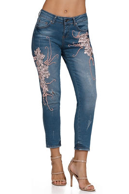 pink pearl destructed crop jean