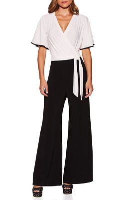 Piped surplice jumpsuit