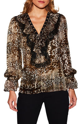Ruffle lace-up animal print blouse
