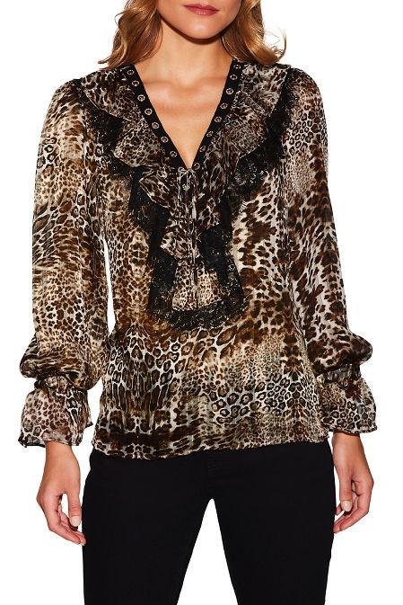 Ruffle lace-up animal print blouse image