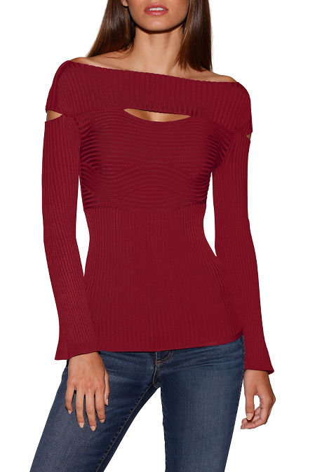 Ribbed cutout detail sweater image
