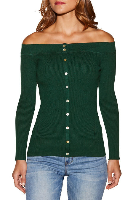Ribbed off-the-shoulder henley sweater image