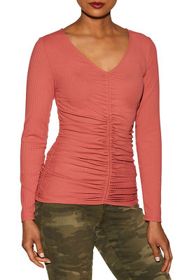 Ruched front ribbed top