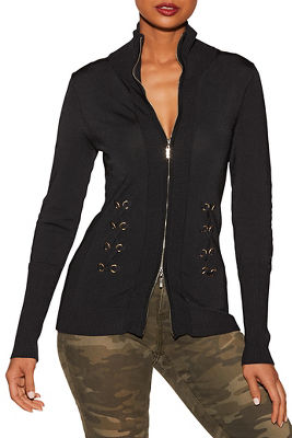 Side lace-up zip cardigan