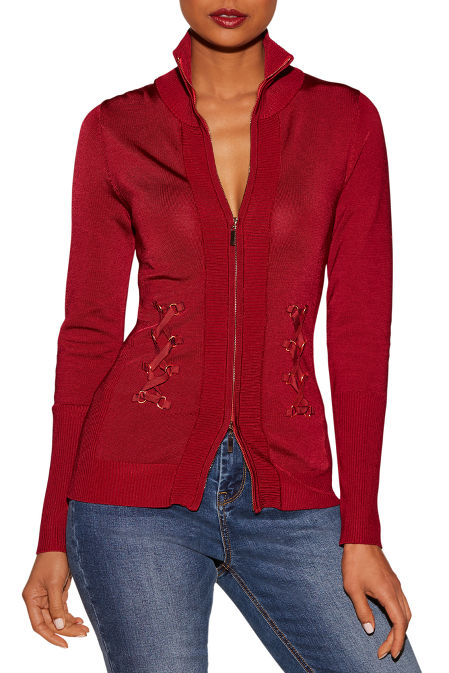 Side lace-up zip cardigan image