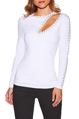 So Sexy™ studded slit long sleeve top