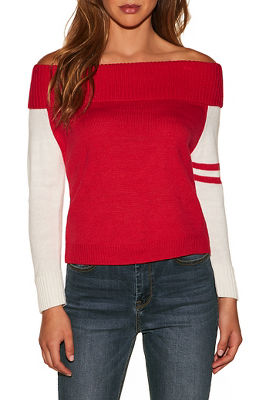 track stripe sleeve off-the-shoulder sweater