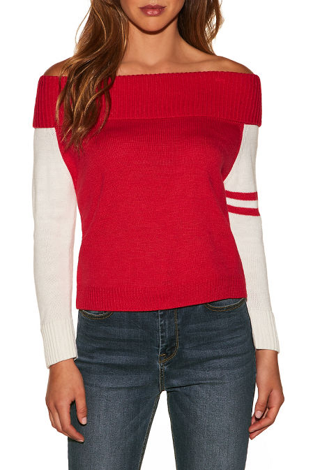 Track stripe sleeve off-the-shoulder sweater image