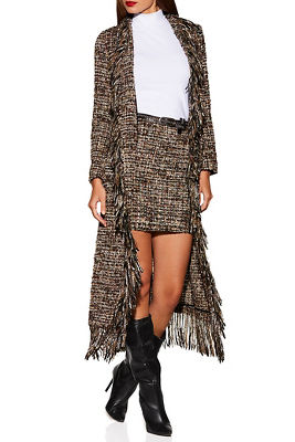 Display product reviews for Tweed fringe trench