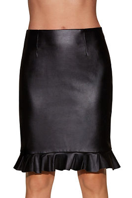 Vegan leather ruffle skirt