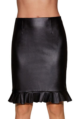 vegan leather ruffle skirt