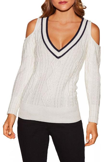Varsity v-neck cold-shoulder sweater image