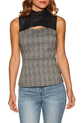 Vegan leather keyhole corset top