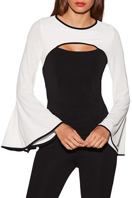 Colorblock keyhole flare sleeve top