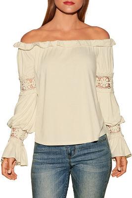 Off-the-shoulder boho flare sleeve top