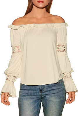 Off-the-shoulder boho flare sleeve top