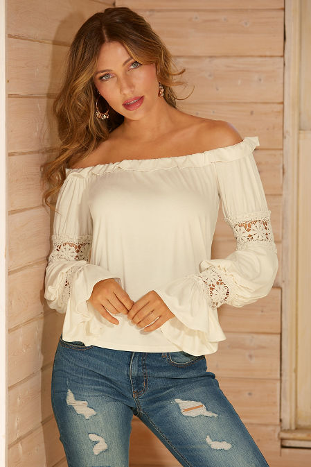 Off-the-shoulder boho flare sleeve top image