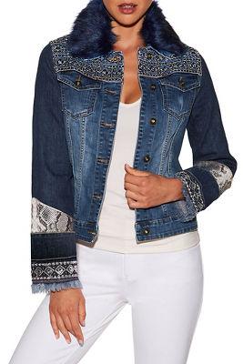 Faux fur embellished denim jacket