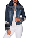 Faux Fur Embellished Denim Jacket Photo