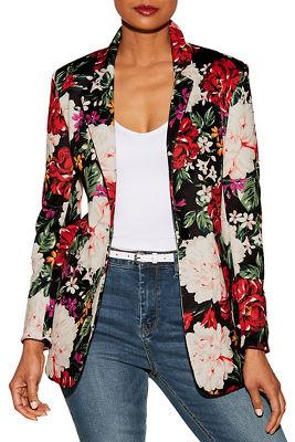 Floral print scuba blazer