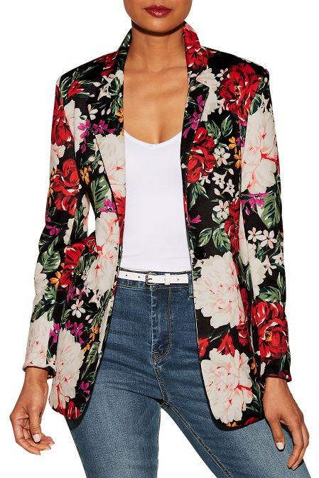 Floral print scuba blazer image