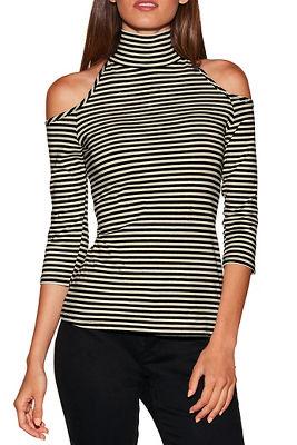 so sexy&#8482 stripe cold shoulder mock-neck top