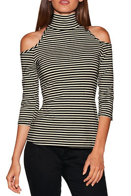 So Sexy&#8482 stripe cold shoulder mock-neck top