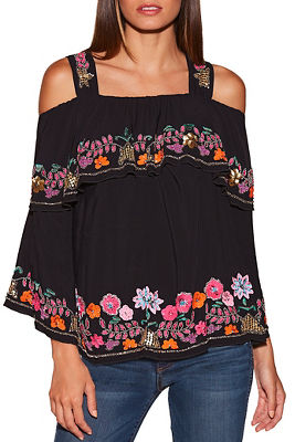 Beaded Cold Shoulder Ruffle Top