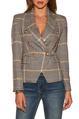 Display product reviews for Plaid double-breasted blazer