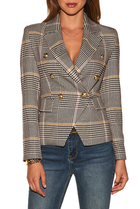 Plaid double-breasted blazer image