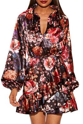 Floral ruffle blouson dress