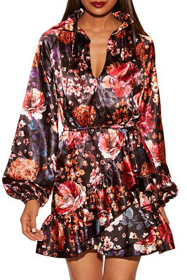 Floral ruffle blouson dress