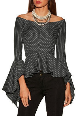 Pinstripe off-the-shoulder flare sleeve top