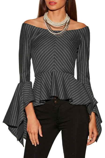 Pinstripe off-the-shoulder flare sleeve top image