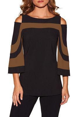 Beyond travel™ flare sleeve colorblock cold-shoulder top