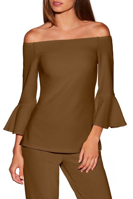Beyond travel™ off-the-shoulder flare-sleeve top image