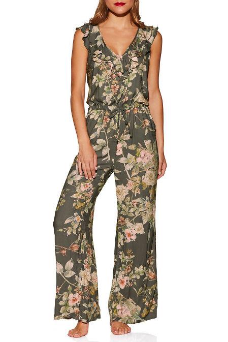 Floral ruffle lounge jumpsuit image