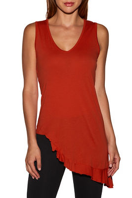 Asymmetrical ruffle tunic top