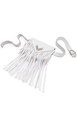 Leather fringe belt bag
