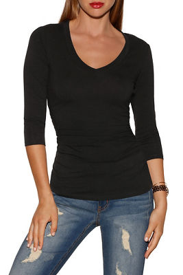So sexy™ three-quarter sleeve v-neck top