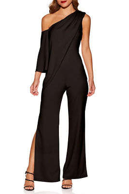One shoulder drape jumpsuit