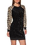 Animal Sequin Sweatshirt Dress Photo