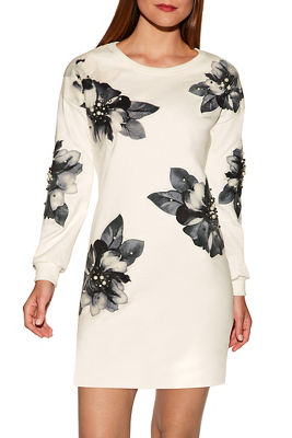 Floral pearl sweatshirt dress