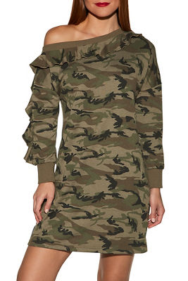 off-the-shoulder camo sweatshirt dress