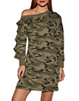 Off-the-shoulder Camo Sweatshirt Dress Photo